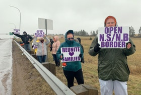 A group of Nova Scotia residents gathered at the province's border on Sunday to call on the premiers of Nova Scotia and New Brunswick to reopen the border as soon as possible. They were joined by a group of people doing the same thing on the New Brunswick side of the Missaguash River.
