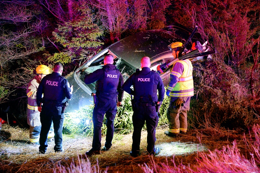 The driver of a car was sent to hospital Sunday morning after his car left the road and crashed into some trees. Keith Gosse/The Telegram