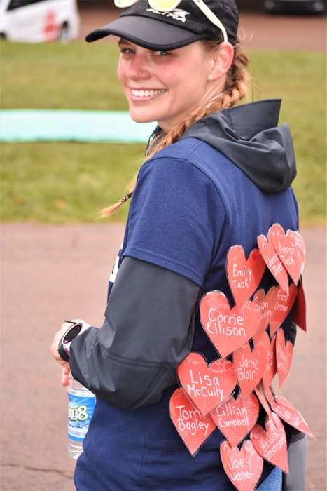 Jillian Arany had the name of each victim affixed to the back of her T-shirt as she ran the marathon from Portapique to Truro. — Richard MacKenzie/SaltWire Network