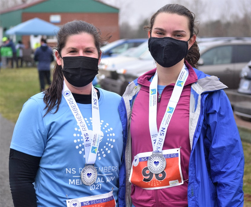 Ainsley Robinson, left, and Gabrielle Giordan were among the many who ran the five-kilometre race on the Cobequid Trail. — Richard MacKenzie/SaltWire Network