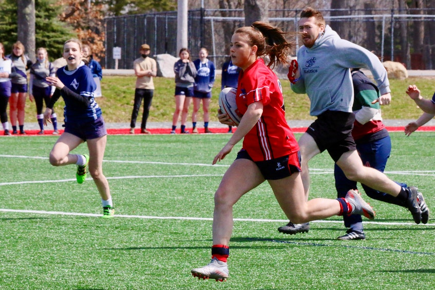 Grade 9 student-athlete Reegan Wagg, from Hammonds Plains, made short work of the pitch when she participated in the 7s game against Avon View. - Carole Morris-Underhill