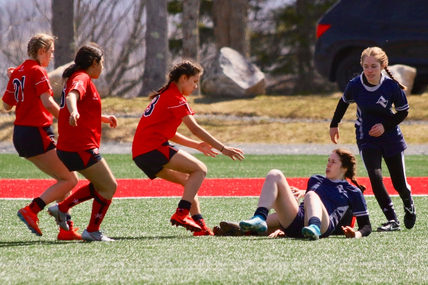 Student-athletes in Windsor took to the pitch for the first time in more than a year April 9. - Carole Morris-Underhill