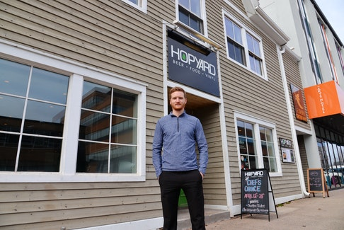 Brett Hogan, co-owner of the Hopyard, is putting in an outdoor patio this summer for the first time in front of the Kent Street business in Charlottetown.