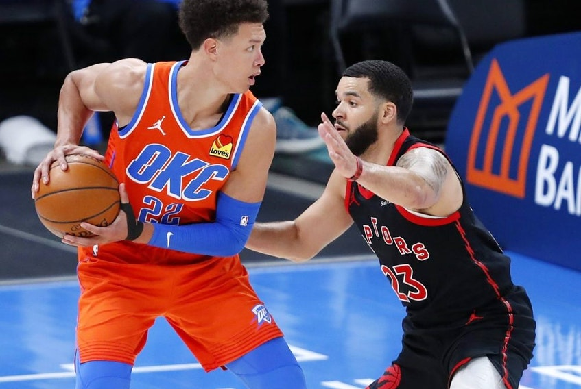 Oklahoma City Thunder centre Isaiah Roby is defended by Toronto Raptors guard Fred VanVleet on a drive during the second half at Chesapeake Energy Arena on March 31, 2021.