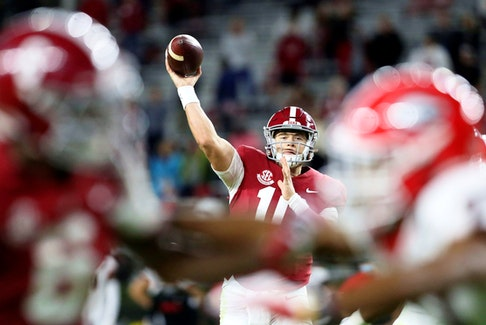 Ex-Alabama quarterback Mac Jones could go third overall in this month's NFL draft.