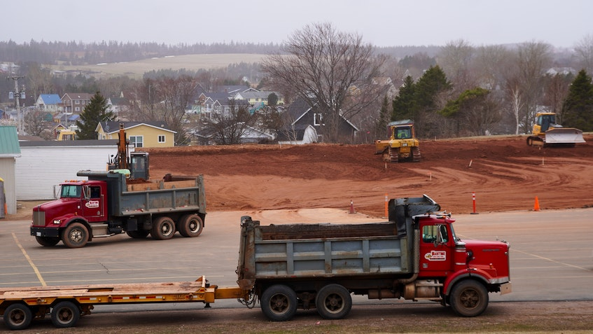 Construction on North Rustico's new rink, which will replace the existing North Star Arena on the left side of this photo, started on April 6. - Daniel Brown • Local Journalism Initiative Reporter