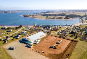 This drone shot captures the beginning of construction of a new, Olympic-sized rink to replace the North Star Arena in North Rustico.