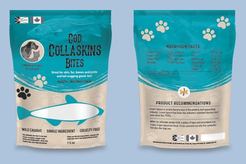 3F Waste Recovery, operating out of Hawke's Bay, Newfoundland, is already turning fish waste into pet treats. Their cod collagen treats are already being sold at Sobey's stores in Atlantic Canada. - Contributed