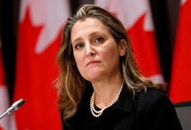"Canada's Deputy Prime Minister and Minister of Finance Chrystia Freeland presented the federal budget Monday, her first since taking over as finance minister last year.  Freeland has promised up to $100 billion in stimulus over three years to ""jump-start"" an economic recovery in what is likely to be an election year. REUTERS/Blair Gable"