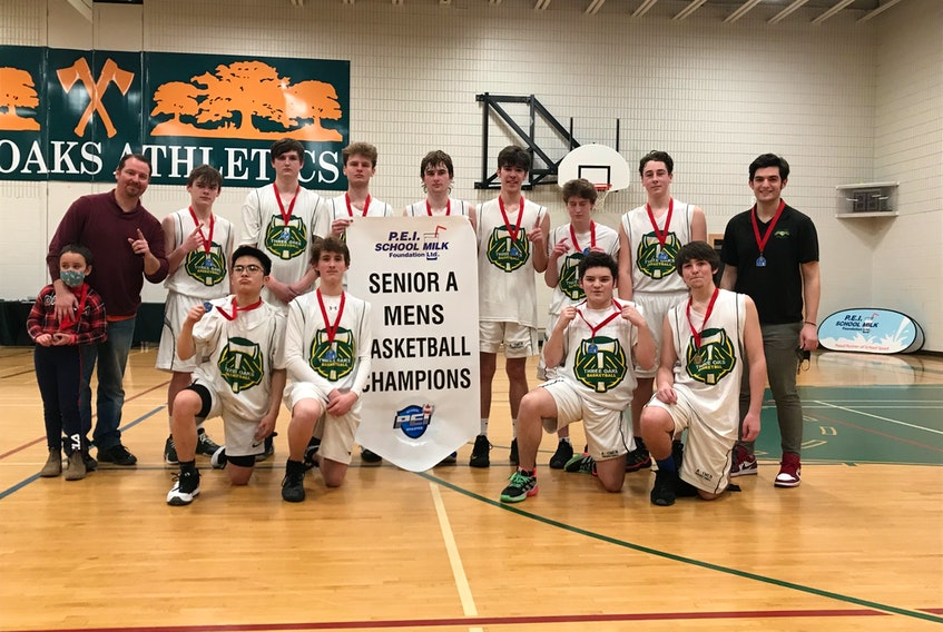 The Three Oaks Axemen defeated the Francois Buote 44-33 in the gold-medal game of the Domino's Pizza Prince Edward School Athletic Association Senior A Boys Basketball League recently. Members of the Axemen are front row, from left: Josh Geneston, Lucas Paugh, Morgan Gaudet and Jake Jelley. Back row: Olivia MacKendrick, Billy MacKendrick, Cayden Wadman, Connor Murphy, Aiden Little, Nathan Enman, Alex Richard, Brodie Fraser, Riley Gallant and Austin Stewart.