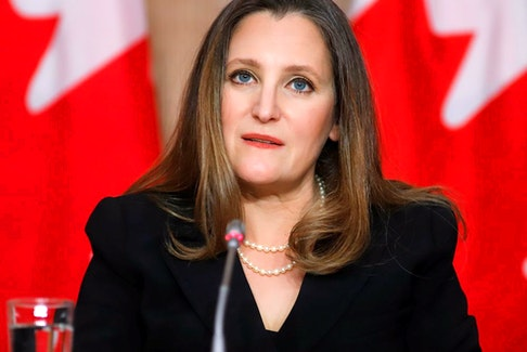 Finance Minister Chrystia Freeland attends a press conference on Parliament Hill in Ottawa, on Monday.