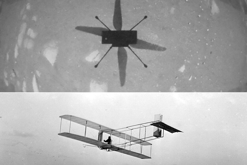 This combination of pictures created on April 19, 2021 shows shows NASAs Ingenuity Mars Helicopter captured in this shot as it hovered over the Martian surface on April 19, 2021, during the first instance of powered, controlled flight on another planet, and this circa 1901 image courtesy of the Library of Congress of a three-quarter left rear view of a glider in flight at Kitty Hawk, North Carolina.