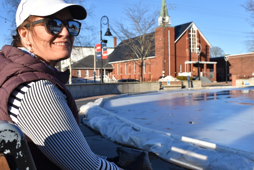 Carolyn Duggan by one of her favourite parts of Truro – the skating oval at Civic Square.
