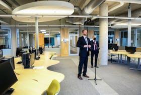 March 29, 2021 - Premier Iain Rankin and Dalhousie University President Deep Saini speak to media at the Wallace McCain Learning Commons. - Communications Nova Scotia