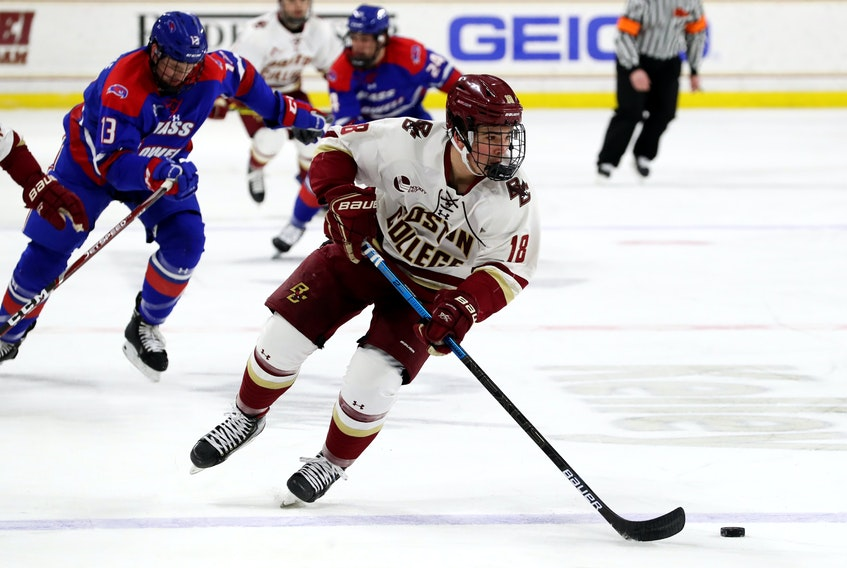 In his first season with Boston College, Alex Newhook tied for the Eagles' scoring lead and led the entire Hockey East conference in rookie scoring. — Boston College Athletics/John Quackenbos