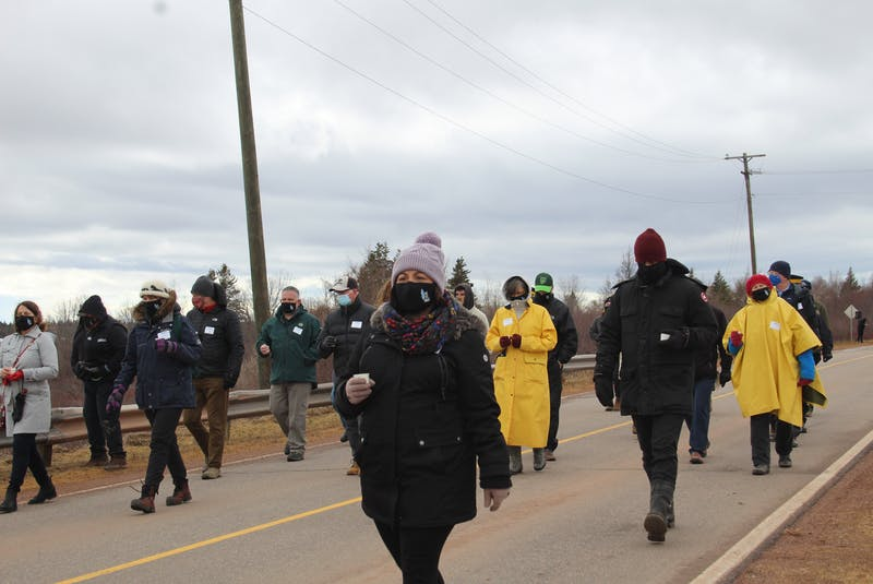 On March 29, tens of people of all backgrounds came together to walk across the causeway to acknowledge a part of Lennox Island's history. - Kristin Gardiner