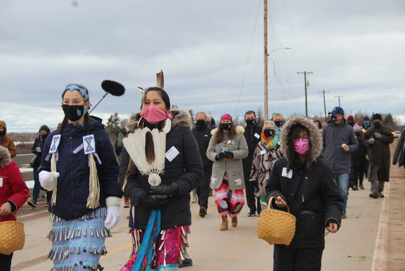 Around 60 to 70 people attended the walk, which started at the top of the causeway and ended at the John J. Sark Memorial School on Lennox Island. - Kristin Gardiner