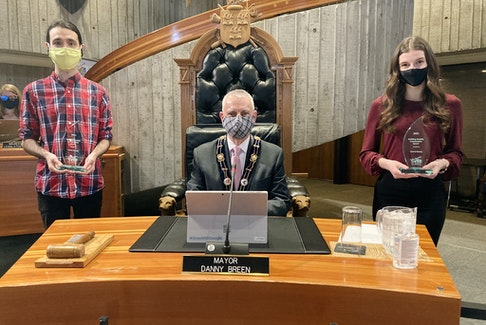 St. John's Mayor Danny Breen congratulated Hannah Murphy and Charlie Murphy, the recipients of the city's Building Healthy Communities Volunteer Award, Monday at city council's weekly meeting.