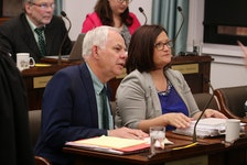 Green Leader Peter Bevan-Baker with Green education critic Karla Bernard during a spring sitting of the legislature. A bill introduced by Bernard to lower the voting age to 16 was defeated Tuesday.