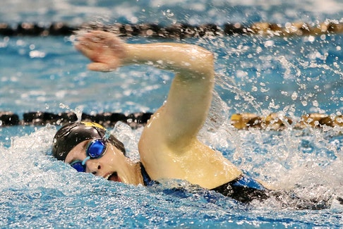 Dalhousie senior Isabel Sarty, seen here during the 2020 AUS swimming championships, helped lead the Dal 4x100m freestyle team to victory in the University Swimming Challenge. Tim Krochak / The Chronicle Herald