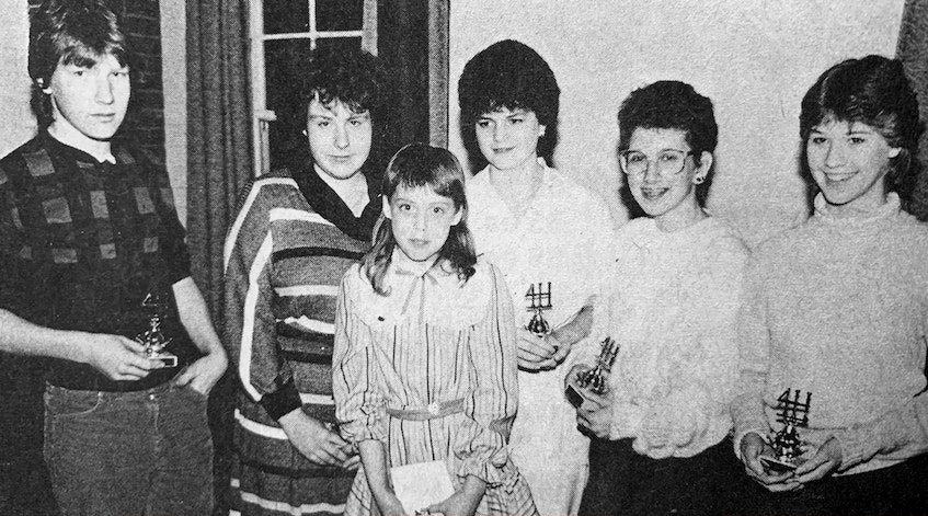The Four Corners 4-H Club held its 1986 public speaking and demonstration events. The winners were, from left: Danny Daye (senior demonstration), Kathy Daye (senior speech), Charmedie Leighton (junior speech), Tammy Feltham (intermediate speech), Andrea Palmer (intermediate demonstration), and Nicki Shaw (junior demonstration). They advanced to regional finals. - File Photo