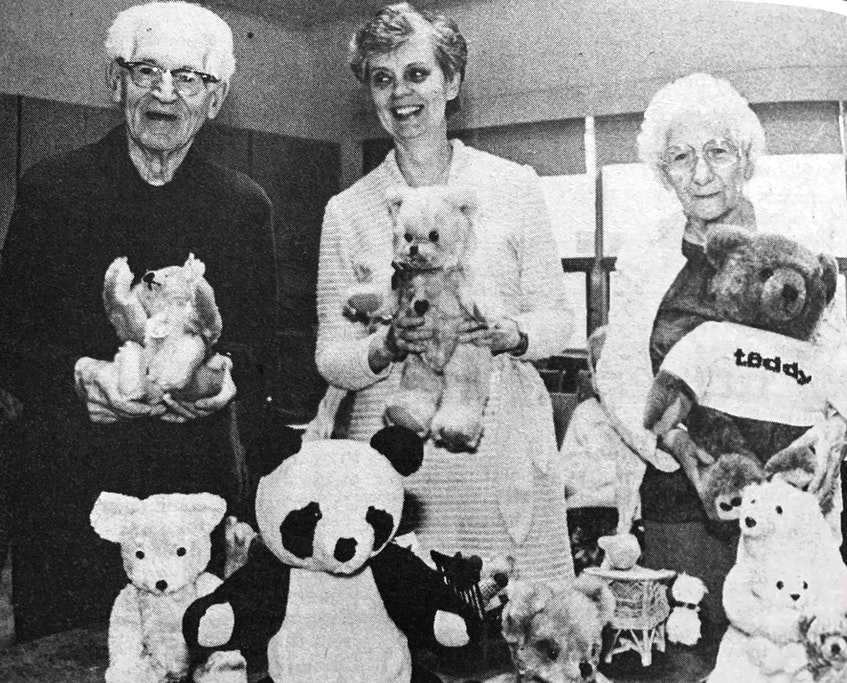 Jockie Loomer-Kruger, centre, brought her collection of 100 teddy bears to the Windsor Elms to bring some joy to the residents in 1986. Pictured with her were Rev. Arthur Betts and Margarite Newton. - File Photo