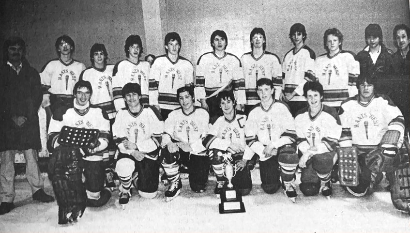 The 1986 Fred Lynch Memorial Hockey Tournament winners were the Hants West Flames. Pictured are, from left, back row: Mr. Chipman (coach), Craig Robarts, Randy Hazel, Shawn Young, Sean Corrigan, Corey Benedict, Tim Macumber, Wesley Anderson, Jamie Clark, Ken Canavan, and Mr. Leighton (manager); front row: Stephen Sanford, Kevin Harvey, Rick Connors, Morris Harvey, Jason MacAvoy, Stephen Arnason, and John Connors. Missing from the photo was Sheldon Benedict, Barclay Crossley, Jeff Davis and Clayton Smiley. - File Photo