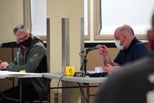 Three Rivers councillors Cameron MacLean, left, and Alan Munro speak during a regular meeting at the Cavendish Farms Wellness Centre in Montague on April 12.