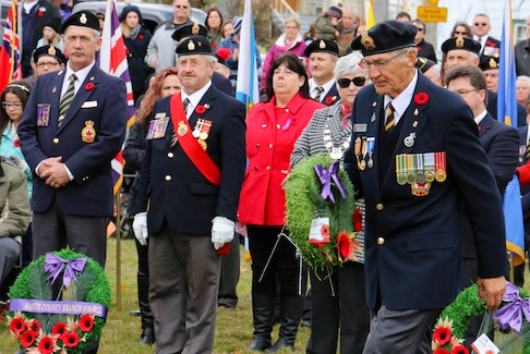 Doug Fredericks, representing Korean War veterans, laid a wreath at Windsor's cenotaph during the 2016 Remembrance Day service. He frequently participated in the legion's Colour Party, and sometimes laid the wreath on behalf of the Windsor Fire Department as he was also part of the veteran firefighter's association.