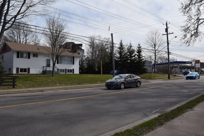 On the left is the current bungalow at 125 Willow st., behind is 135 Willow st. and to the right is the Irving gas station.  - Chelsey Gould