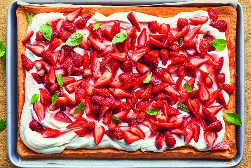 Strawberry shortcake from Sheet Pan Everything.