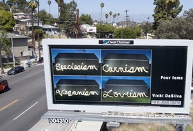 "This is the billboard in Los Angeles that features the work, ""Four Isms"" by Inverness artist Vicki DaSilva. DaSilva is one of 30 North American artists chosen to have their art featured on billboards in the U.S. city. The barn shown in each of the four photos is located in Mabou. CONTRIBUTED"
