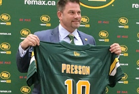 Edmonton Football Club president and CEO Chris Presson meets the media on Aug. 7, 2019.