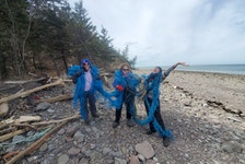 Today is International Earth Day and I can't think of a better way to spend it than taking care of our planet. Angela Riley (left) and her group, Scotian Shores, were in the Bay of Fundy last Friday. She and her team members, Peggy (middle) and Jacqueline (right), found this large piece of rope on the shoreline and decided to have a photoshoot. In the past seven months, the team has collected more than 20,000 lbs -more than 9,000 kgs of debris from our shorelines. Angela then recycles the plastic and debris they gather to create art, which she sells on her website. Thank you for the photo, Angela.