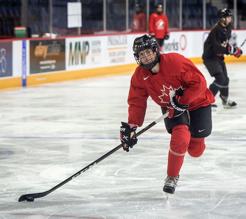 Blayre Turnbull of Stellarton fires a shot on goal during a Team Canada practice Monday at the national women's hockey team's selection camp at Scotiabank Centre. - Hockey Canada Images