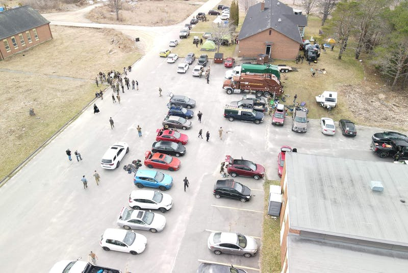 A drone shot of people arriving to play airsoft at the former Shelburne Youth Centre property in Sandy Point. Contributed - Saltwire network