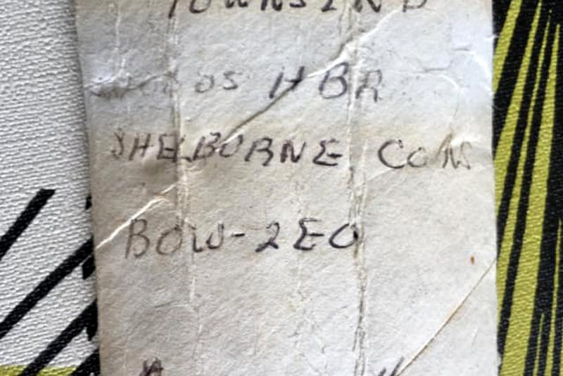 A long-lost message in a bottle written on a flattened toilet paper roll by the late Woods Harbour fisherman Arden Townsend on Sept. 8, 1989 has made its way to the family by social media. Contributed - Saltwire network
