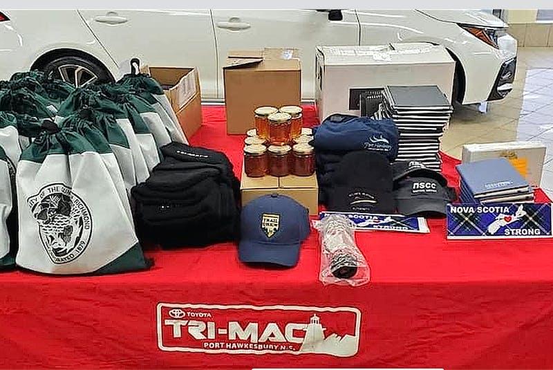 Some of the items that were part of a care package put together for the crew of the foreign oil tanker the STI San Telmo, that included everything from local honey, to Tim Hortons donuts, premium seafood, handmade scarves, etc. CONTRIBUTED