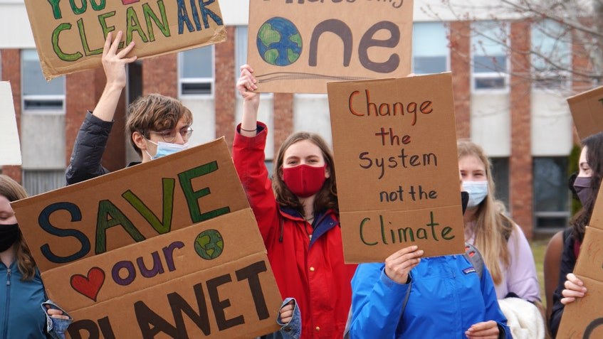 Colonel Gray High School students held a protest against littering and climate change inaction on Spring Park Road in Charlottetown on April 21. - Daniel Brown • Local Journalism Initiative Reporter