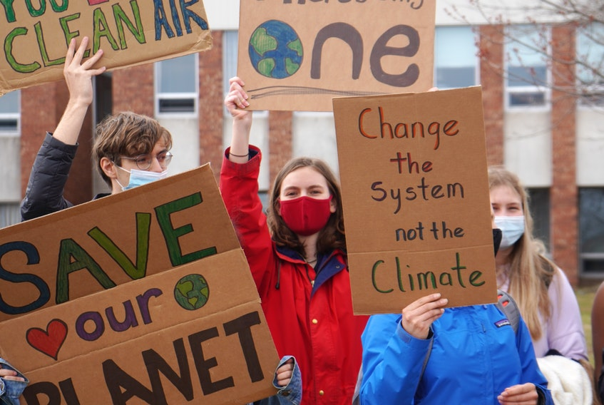 Colonel Gray High School students held a protest against littering and climate change inaction on Spring Park Road in Charlottetown on April 21.