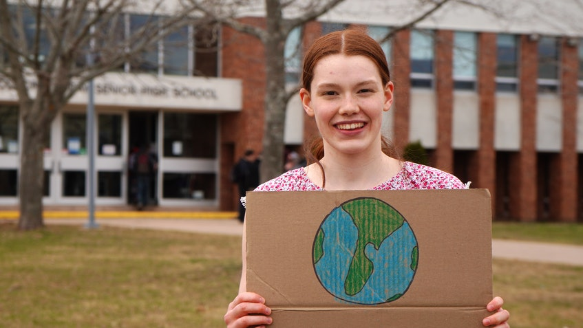 Meghan Runge, a Grade 11 student at Colonel Gray High School in Charlottetown, joined her classmates for a protest outside the school on Spring Park Road on April 21. - Daniel Brown • Local Journalism Initiative Reporter
