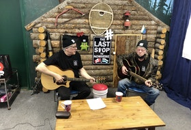 """Leander Baikie (left) and Ross Humby are launching a new comedy web serieson April 25 showcasing Labrador culture and heritage. The pair from North West River were cast members on the comedy reality show """"Last Stop Garage,"""" which ran for two seasons on Discovery Canada."""