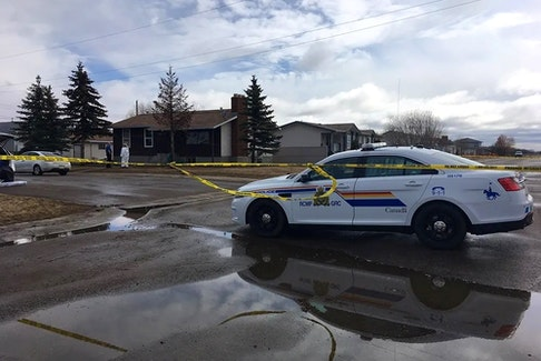 RCMP investigators on the scene of a double homicide in the small town of Chipman, Alberta, east of Edmonton, on April 3, 2017. Raymond Nickerson has been sentenced to five years in prison after Terry Sutton and Jason Williams were shot and killed in a case that began with a dispute over fireworks. Williams was from Prince Edward Island.