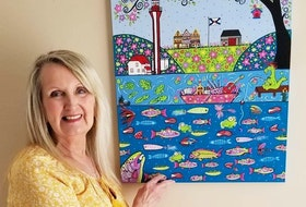 Linda Peterson-Blades is pictured with a painting she completed in March 2020 during the first COVID lockdown. Titled I Love NS Spring, she drew inspiration from some of the music performed on the popular Facebook group, the Ultimate Online NS Kitchen Party.