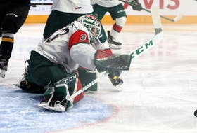 Halifax Mooseheads goalie Brady James kicks out a shot during a Feb. 21 game against the Cape Breton Eagles at the Scotiabank Centre. - Eric Wynne