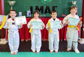 Six little dragons successfully participated in their taekwondo belt exam at Island Martial Arts Centre under the direction of Angie MacDonald. From left, Sylas Rowe-Ste Marie, Declan Hardy, Yvette Johnson, Raphael Johnson, Timothy Kupovics and Brantley Keough. CONTRIBUTED • ANGIE MACDONALD