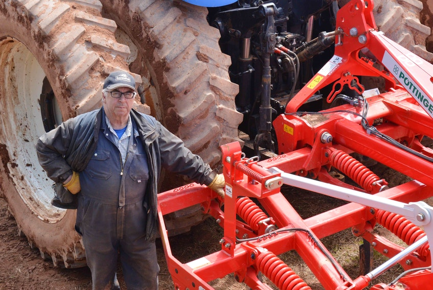 Like many farmers, Vernon Campbell of P.E.I.'s Mull Na Beinne Farms Ltd. has replaced a mouldboard plow with a cultivator in order to reduce soil tillage. The cultivator leaves some sod on the surface, which helps prevent wind and water soil erosion. Replacing moldboard plows is one practice that has become common in P.E.I. as farmers begin adopting best practices to improve soil health, following a year of drought-like conditions in 2020. - Alison Jenkins/Local Journalism Initiative Reporter
