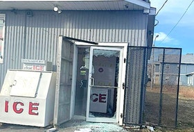 The smashed front door of Cletus' Corner Convenience Store on West Street in Glace Bay, Wednesday morning. Cape Breton Regional Police are investigating the break, enter and theft of the convenience store and the robbery of a Bud's Taxi driver in Glace Bay, which occurred 20 minutes apart. CONTRIBUTED • FACEBOOK