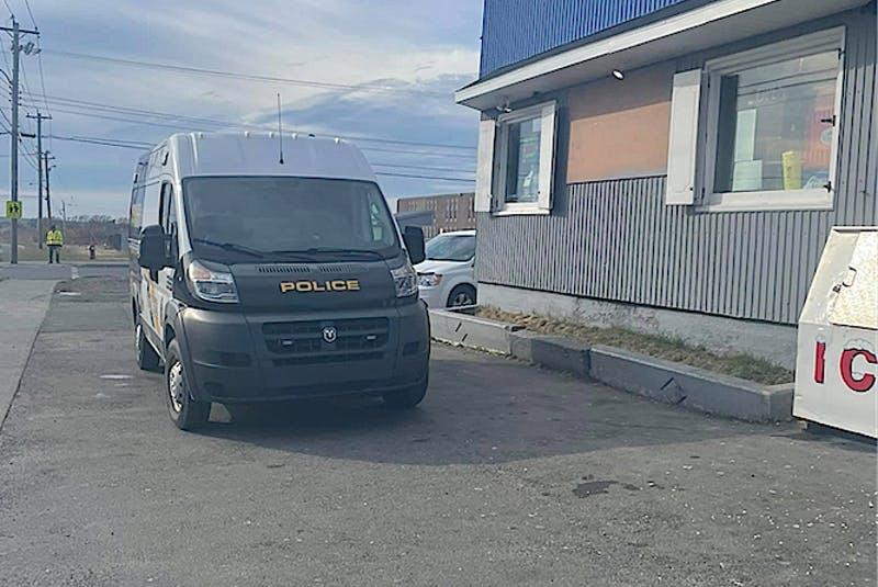 Cape Breton Regional Police at Cletus' Corner Convenience store in Glace Bay Wednesday morning, investigating the break, enter and theft. CONTRIBUTED • FACEBOOK