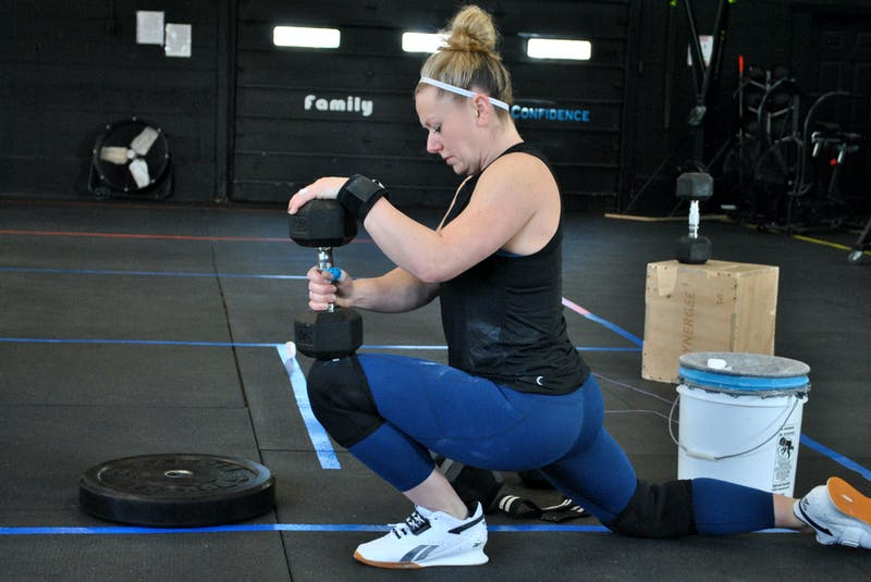 Shelburne CrossFit athlete Riley Foley gets ready to do some weightlifting for the CrossFit Games quarterfinals.  KATHY JOHNSON - Saltwire network